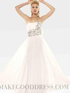 2014 Modern A-line One Shoulder Zip-up Beading Evening Dresses