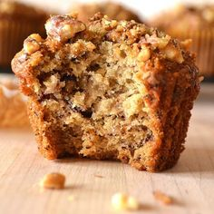 Quick, easy, moist & full of flavor. I've won numerous awards with these banana nut muffins - so have my readers! Baking Recipes, Dessert Recipes, Desserts, Brunch Recipes, Baked Banana, Banana Walnut Muffins Easy, Healthy Banana Nut Muffins, Banana Nut Bread Easy, Banana Walnut Cake