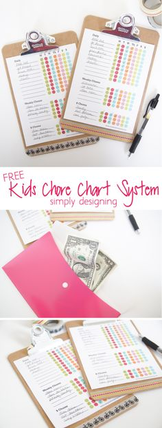 Kids Chore Chart System + Free Printable - this system is the best way to get kids on a regular and consistant chore chart by Simply Designing