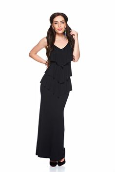 MissQ Naturalness Black Dress, sleeveless, fabric overlay, elastic fabric