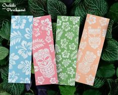 Tiki Bookmark Set • Orchids and Parchment Free Printable Bookmarks, Santa Express, Hawaiian Tiki, Christmas Gift Tags, Sympathy Cards, Tropical Flowers, Hang Tags, Blank Cards, House Colors