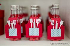 Cute favor for a little chef's party! Italian Theme, Chef Party, Kitchen Shower, Baking Party, Kitchen Decor Themes, Pizza Party, Diy Wedding Decorations, Italian Party Decorations, Open House