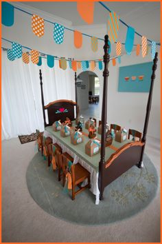 goldilocks and the three bears party theme - using the bed as a TABLE!  Genius!