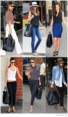 Miranda Kerr carrying a Céline Cabas Zip Tote