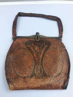 Antique Arts & crafts MEEKER Leather Purse Satchel Art Nouveau AMAZING   eBay
