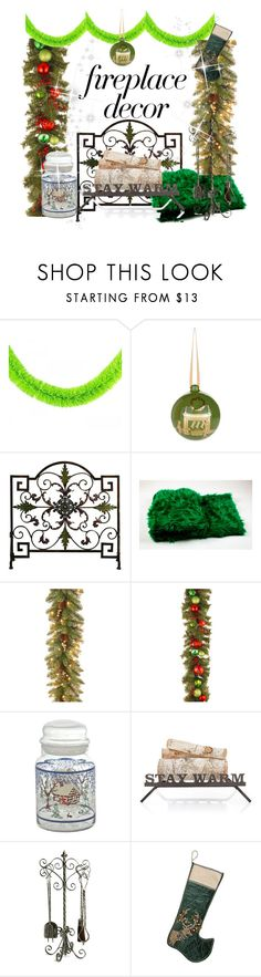 """fireplace decor"" by greensparkle1 ❤ liked on Polyvore featuring interior, interiors, interior design, home, home decor, interior decorating, Harrods, National Tree Company, Mark & Graham and Cyan Design"