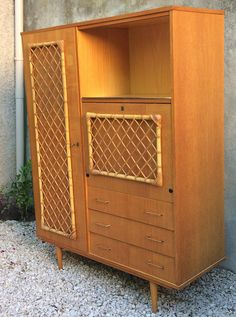 French cabinet rattan & oak vintage 1960  mid century drawers
