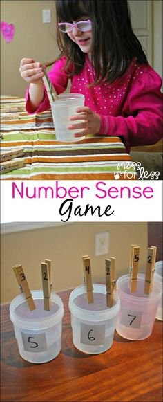 Number Sense Game - using clothespins, kids discover all the ways to make a number. Could use for number sense and use tally marks quantity and number word Math Classroom, Kindergarten Math, Teaching Math, Math Games, Learning Activities, Cognitive Activities, Fun Games, Math Numbers, Decomposing Numbers
