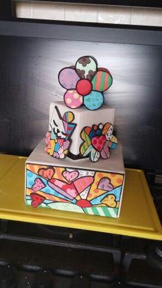 Cake pop art inspired by Romero Britto