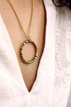 Gold ball circle necklace, bubble dot pendant