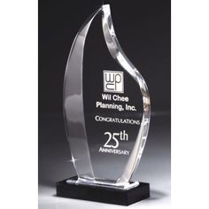 "Our Acrylic Flame Award features a clear acrylic flame for engraving personalization mounted on a black marble base. This DT236 stands 11"" tall, weighs 2.8 lbs & includes free engraving & free shipping!"