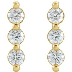 87148 / Set / Yellow / Earring / Friction Backs Included / Pair / Polished / CTW Diamond Drop Earrings Yellow Earrings, Diamond Drop Earrings, Bar Earrings, Or Rose, Rose Gold, Stone Bar, Diamond Cuts, Bling, What's Trending