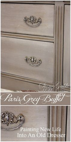 DIY How to Get this French Paint Finish using Annie Sloans Chalk Paint Paris Grey and Pure White paint and clear and dark waxes were used to update this dated buffet vi. Refurbished Furniture, Repurposed Furniture, Furniture Makeover, Diy Furniture, Bedroom Furniture, Furniture Stores, Kitchen Furniture, Furniture Repair, Furniture Refinishing