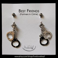 Items similar to Silver Handcuffs Belly rings - Set of 2 Matching Best Friends or Partners in Crime Belly Button Barbell Rings Body Piercing Body Jewelry BFF on Etsy Belly Button Piercing Jewelry, Bellybutton Piercings, Cute Piercings, Piercing Ring, Body Piercings, Peircings, Ear Gauges, Cartilage Earrings, Cute Belly Rings