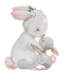 """Kidz Collection - cute white bunnies - mother with child - Sweet white bunnies â € """"mother with child poster at Posterlounge ✔ Low-cost shipping ✠""""Purchase - Bilden Bunny Drawing, Bunny Art, White Bunnies, Baby Bunnies, Illustration Mignonne, Cute Illustration, Baby Animal Drawings, Cute Drawings, Cartoon Mignon"""