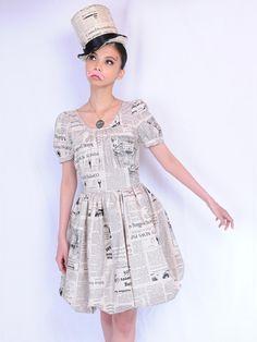 pays des fees Newspaper Bubble Dress