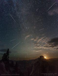 Perseid Meteor Shower over Yosemite valley