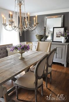 I love this chandelier and the side chairs. More great photos on her blog and info about each item.