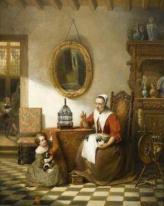 La dentellière. Huile sur toile en 1843 de Johann Cornelius MERTZ (allemand 1819 - 1891)