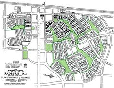 RADBURN, NJ - Based on Garden City and Superblock movement. Designed by Henry Wright and Clarence Stein. Environmental design concept geared towards technology, it introduces a circulation network that included a separate pedestrian system and a street pattern that prevented through automobile traffic. (text: Caroline Joseph's Notes)