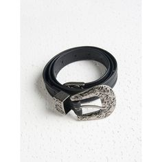 Black PU Embossed Buckle Waist Belt (87 BAM) ❤ liked on Polyvore featuring accessories, belts and waist belt