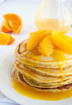 Orange Buttermilk Pancakes with Fresh Citrus Syrup