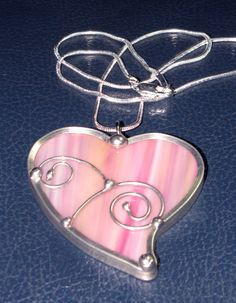 Jewelry Heart Shaped Pendant - Pink Opal Glass Necklace - Stained Glass with wire accents via Etsy