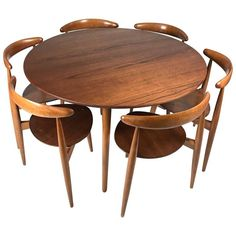 Hans Wegner 'Heart' Dining Table and Chairs for Fritz Hansen | From a unique collection of antique and modern dining room sets at https://www.1stdibs.com/furniture/tables/dining-room-sets/