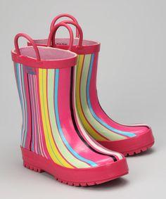 Love this Pink Stripe Rain Boot on #zulily! #zulilyfinds