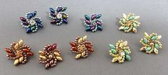 Earring Jacket designs, by Kassie Shaw. Right-angle weave variation  ~ Seed Bead Tutorials