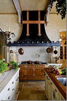 Kitchen at Chateau Lyon, designer Barry Dixon | French style home in Charlotte, North Carolina. Via designer, Joni at Cote de Texas