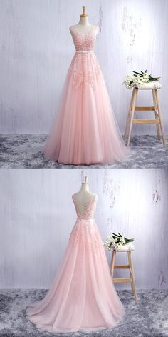 f3eac65b681 Sexy Prom Dresses Straps A-line Short Train Pearl Pink Tulle Prom Dress  Evening