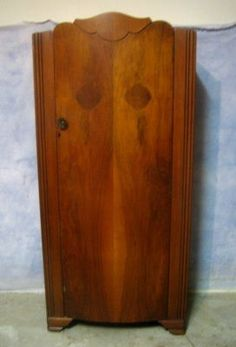 antique art deco flame burled walnut bowfront wardrobe armoire shelves hang bar art deco figured walnut wardrobe vintage