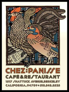 I dream about chez panisse cafe's olives and almonds and love david goines illustrations