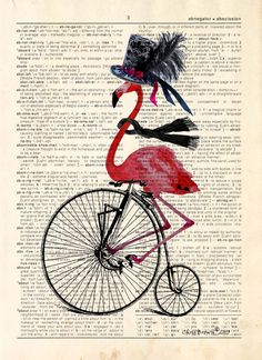 Description: This print is from an original artwork by Chris Brown. Whimsical print of Miss Flappy Flamingo out for a Ride on her Bike printed on an Flamingo Decor, Pink Flamingos, Bird Barn, Barn Owls, Pop Art Drawing, Dictionary Art, Animal Party, Fabric Painting, Tropical