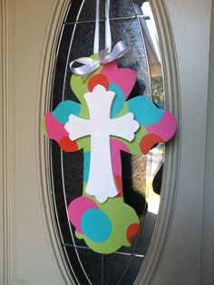 Funky Colors Cross Door Hanger by Forty31 on Etsy, $40.00