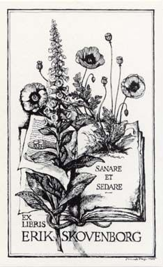 Bookplate with a medical motif drawn by the Danish artist: Mads Stage.