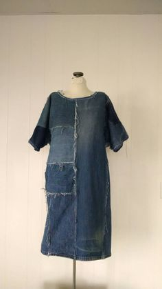 Denim Dress Recycled Jeans Eco-Friendly Large Upcycled frayed