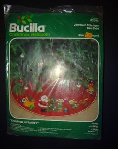 """Bucilla Stamped Felt Christmas Santa Elves Applique Tree Skirt NEW 82093 36"""" KIT #Bucilla #Sampler"""