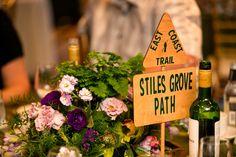 Wedding reception# floral arrangement# green# purple# natural# organic# centrepiece# Newfoundland Canada#