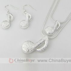 Fashion Jewelry: Two-piece 925 Sterling Silver Note Pendant Necklac...