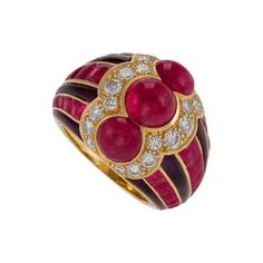 Bulgari Late-20th Century Ruby Diamond Amethyst and Gold Ring by   Bulgari