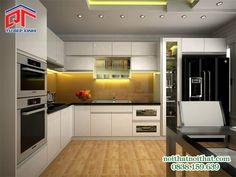 Mẫu tủ bếp Acrylic màu trắng trang trọng, tinh tế PTM28