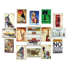 Retro Mix Vintage Tin Sign Wall Decor No Stupid People Cigar Pug UK Status of Liberty London Red Phone Booth Saxaphone VW Beetle Route 66 Poetic Licenses Coca Cola Please Recycle 20x30cm Resellers welcome. Subcribe to our mailing list for updates on new items.