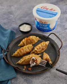 Creams really do come true! Indulge guilt-free in the silky texture and tangy flavour of our Low Fat Sour Cream - the perfect companion to your meat pierogis! 😋 Guilt Free, Sour Cream, Sausage, Fat, Favorite Recipes, Texture, Dinner, Surface Finish, Dining