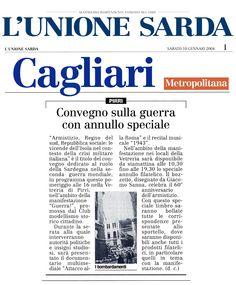 """L'Unione Sarda. 10 gennaio 2004. Daniela Cipollina. """"Convegno sulla guerra con annullo speciale""""."""