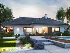 Dom w różach Modern Bungalow House Design, Classic House Design, House Front Design, Cottage Design, Family House Plans, Dream House Plans, Style At Home, House Extension Plans, Bungalow Exterior