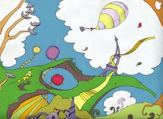 I had to draw a Dr. Seuss inspired landscape for Art class. Dr Seuss Drawings, Dr Seuss Illustration, Dr Seuss Art, Dr Suess, Seussical Costumes, Carnival Themes, Park Art, Windy Day, Middle School Art