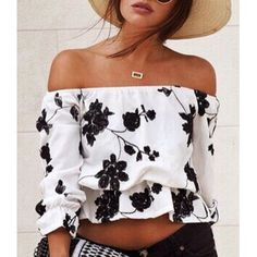 Fresh Style Off-The-Shoulder Black Floral Printed Short Blouse For Women (WHITE,L) in Crop Top | DressLily.com
