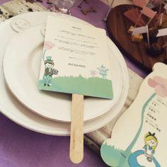 【席札 & Menu】不思議の国のアリス風 Tea Party うちわタイプ | HATTI Wedding Shop